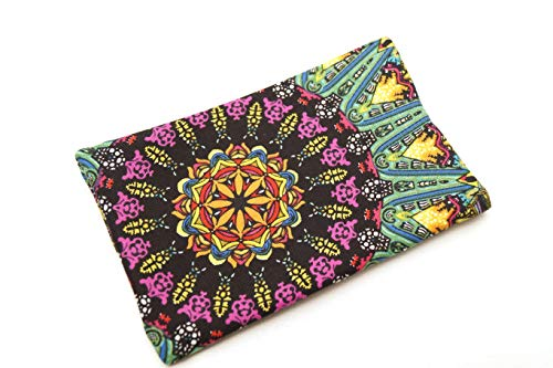 Medallion Pattern Travel Size Tissue Holder with Colorful Fabric