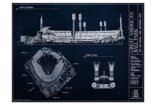 Great American Ball Park Blueprint Style Print (Unframed, 18