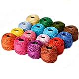 LE PAON Soft 10g Cotton Balls Rainbow Colors of Size 8 Perle/pearl Cotton Threads for Crochet, Hardanger, Cross Stitch, Needlepoint Hand Embroidery. All Different Colors (Suit 7) (pack of 16)