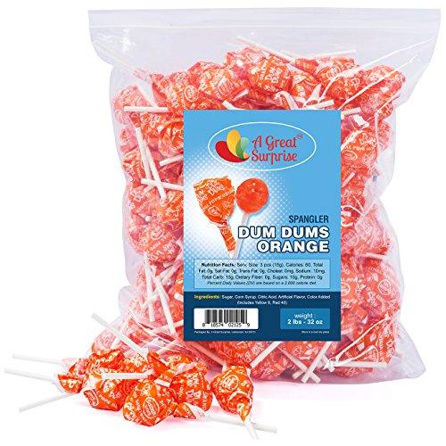 Dum Dums Orange - Orange Dum Dum Lollipops, by Spangler, Bulk Candy, 2 -
