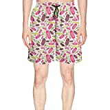 Men's Summer Time Ice Cream and Heart Summer Quick Dry Volley Beach Shorts Fashion Swim Trunks