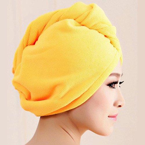 Price comparison product image AIMTOPPY Microfiber Bath Towel Hair Dry Hat Cap Quick Drying Lady Bath Tool (Yellow)