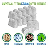 PURE GREEN WATER FILTER Activated Charcoal Water Purification Filters - For Keurig - Universal - Pack of 12 Pieces