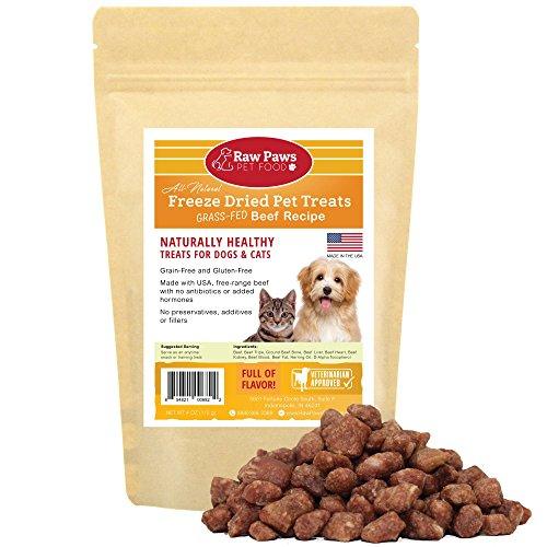 - Raw Paws Free-Range Freeze Dried Beef Dog Treats & Cat Treats, 4-oz - Made in USA Raw Freeze Dried Cat Treats - Grass-Fed Cows - Grain, Wheat, Antibiotic-Free Beef Cat Treats - All Natural Pet Snacks