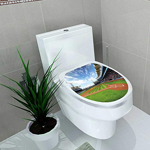 Auraise-home Toilet Seat Sticker Baseball Stadium with Fans at Sunny Weather Sport Theme d Waterproof Decorative Toilet Cover Stickers W12 x L14 (Best Seats At Yankee Stadium For Baseball)