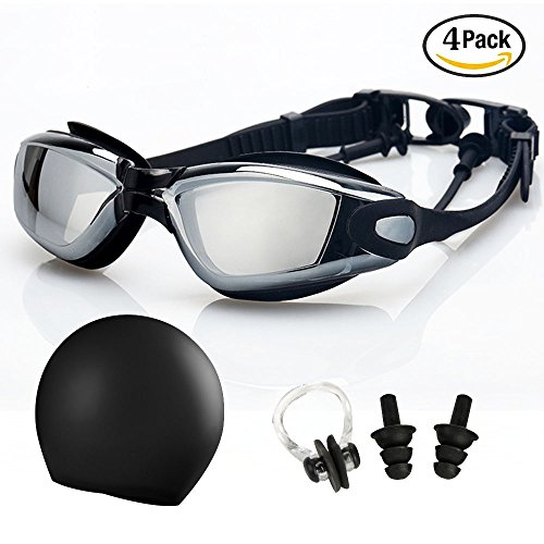 [Swimming Goggles+Swim Cap+Nose Clip+Ear Plugs,UUAT Clear No Leaking Anti Fog UV Protection Triathlon Swim Goggles for Adult Men Women Youth Kids] (Swimming Costume For Womens Online)