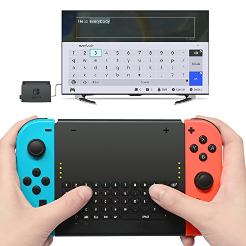 Wireless Keyboard for Nintendo Switch,Wireless Gamepad Chatpad Message Keyboard for Nintendo Switch,2.4G USB Rechargable Handheld Remote Control Keyboard for Nintendo Switch with a 2.4G receiver
