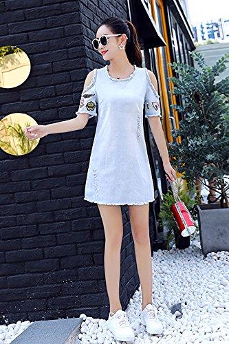 44e013abaf2 Amazon.com : Summer new Korean short-sleeved dress big yards strapless short-sleeve  denim skirt fashion fashion student for women girl : Beauty