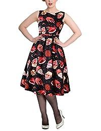 MERRYA Women's Vintage 1950s Floral Print V-Neck Party Cocktail Dresses
