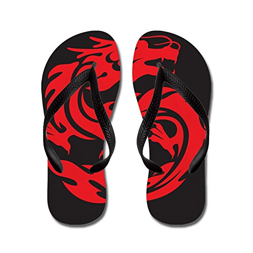 Price comparison product image Royal Lion Kid's Tribal Red Dragon Black Rubber Flip Flops Sandals 1-4