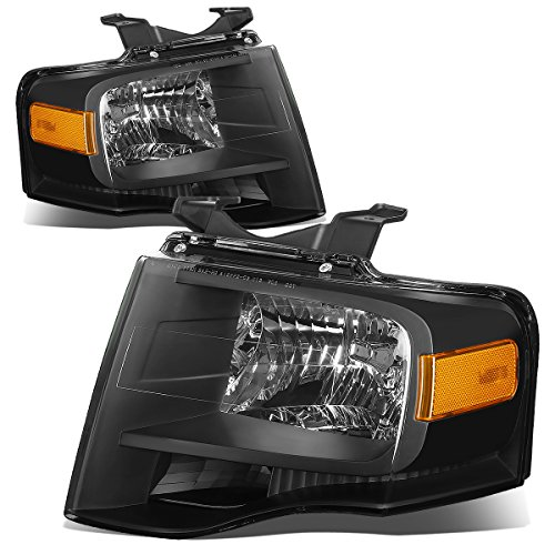 For Ford Expedition U324 Pair of Black Housing Amber Corner Headlight Kit