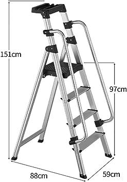Escaleras Escalera plegable de aluminio de 4 pasos con pasamanos de seguridad, escalera de tijera, taburete, escalera de extensión, escalera multifunción for la oficina en casa del jardín Escalera de: Amazon.es: Bricolaje