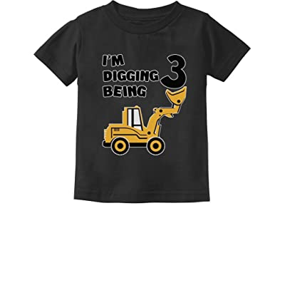 3rd Birthday - Bulldozer Construction Party Toddler Toddler/Infant Kids T-Shirt 24M Black