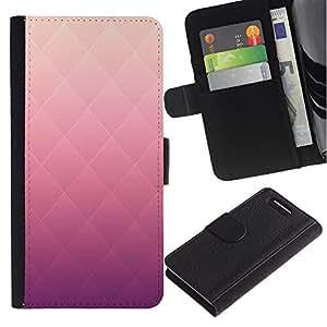 EuroTech - Sony Xperia Z1 Compact D5503 - Rhomb Pattern Pink Gradient Color - Cuero PU Delgado caso Billetera cubierta Shell Armor Funda Case Cover Wallet Credit Card