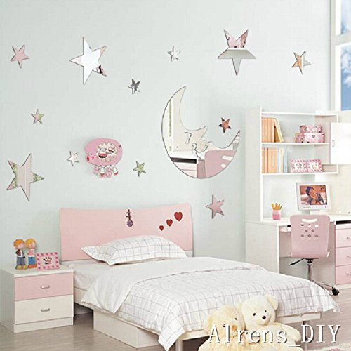 1 pcs Moon+ 12 Pcs Twinkle Stars DIY Mirror Effect Reflective 3D Wall Stickers Home Decoration Living Room Bedroom Bathroom Nursery Kindergarten Kid's Room Decor Mural Decal Art (Silver) Paint Mural Kids Room