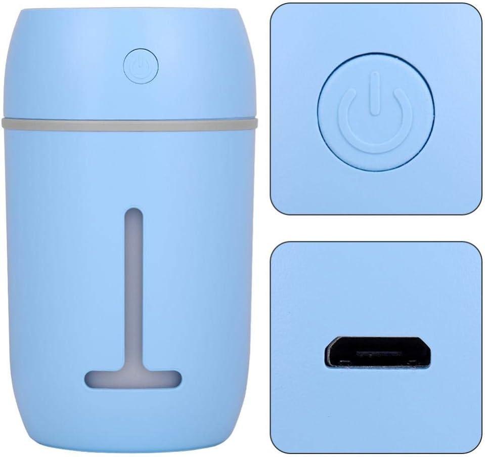 difusor ultras/ónico port/átil del Aire 280ML Azul El humidificador de Aire del USB apaga autom/áticamente el humidificador de la Niebla con la luz Colorida del LED para el Coche de Home Office
