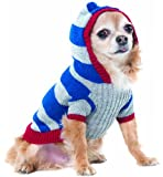 Fashion Pet Lookin Good Collegiate Striped Hoodie Sweater for Dogs, X-Small, Blue