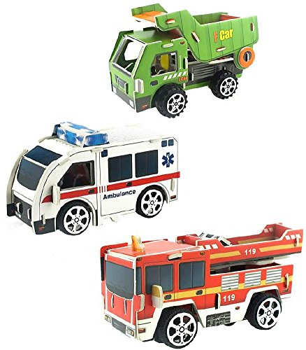 Cestari Toys Truck Stocking StuffersParty Favors : Set of 3 Pull Back 3D Puzzle Vehicle Models Educational Assembly Kit Perfect, Stocking Stuffers - Includes : Ambulance, Dump Truck, Fire Truck