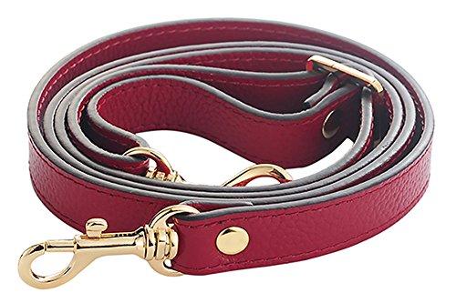 Grain Leather Adjustable Shoulder Straps -1.8 CM Width(20 Color)(Wine) (Wine Colour)