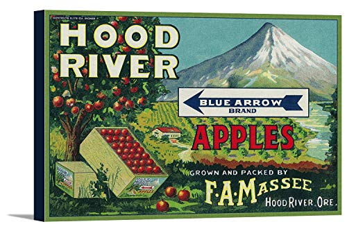 Blue Arrow Apple Crate Label (12x10 7/8 Gallery Wrapped Stretched Canvas)