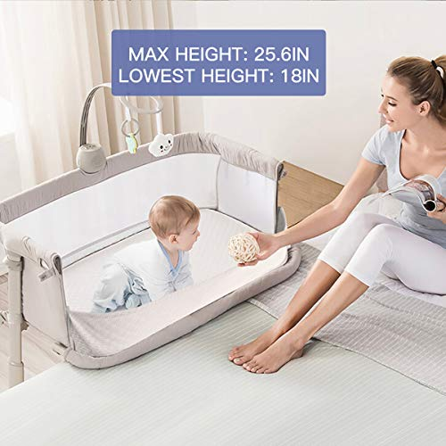51hrGEsjhqL - Baby Bassinet,RONBEI Bedside Sleeper Baby Bed Cribs,Baby Bed To Bed, Newborn Baby Crib,Adjustable Portable Bed For Infant/Baby Boy/Baby Girl (Bassinet)
