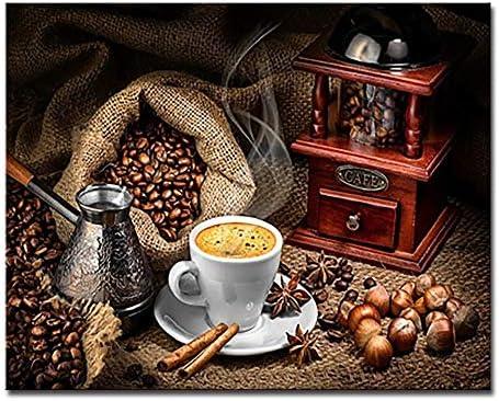 لوحة فنجان القهوة بالأرقام من حبوب القهوة الزيتية صور زيتية لوحات فنية جدارية على القماش ملونة لديكور العائلة Wwjyb0204 سهلة التقشير وسهلة الالتصاق قماش 60x75cm Amazon Ae