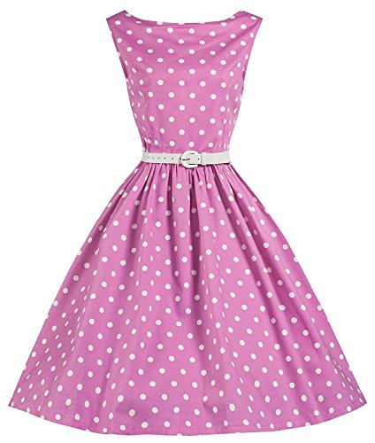 Lindy-Bop-Sandy-Pink-Polka-Dot-Vintage-1950s-Swing-Dress-6XL-Pink-Polka