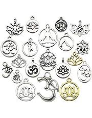 Youdiyla Wholesale 80 Pcs Silver Mixed Yoga OM Lotus Flower Styles Charms Pendants DIY for Jewellery Making Necklace Bracelet WM294