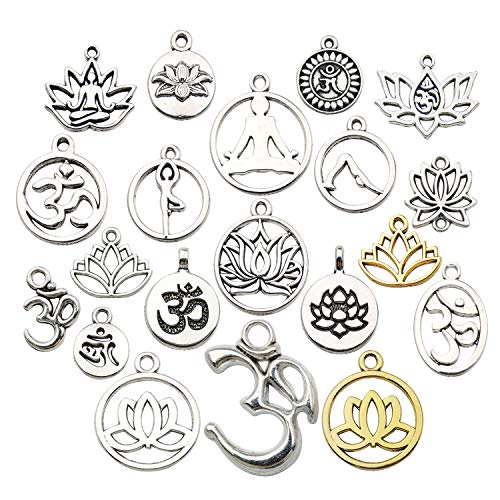 WOCRAFT 100g(80pcs) Craft Supplies Antique Silver Yoga OM Lotus Flower Charms for Jewelry Making Crafting Findings Accessory for DIY Necklace Bracelet M294 ()
