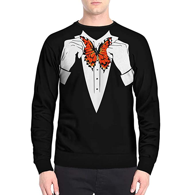 DEELIN Los Hombres De Manga Larga, El PatróN De Los Hombres De ImitacióN De ImpresióN De La Mariposa Manga Larga O-Cuello Camiseta Tops Slim Blusa: ...