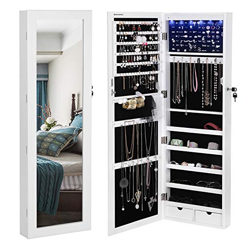 SONGMICS 6 LEDs Mirror Jewelry Cabinet Lockable Wall/Door Mounted Jewelry Armoire Organizer with Mirror, 2 Drawers, Pure White - Jewelry Case