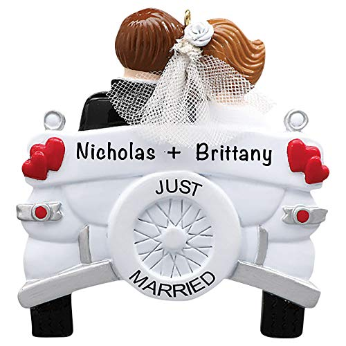 Just Married Wedding Car Personalized Ornament - Unique Christmas Tree Ornament - Special Keepsake - Custom Decorations for Engagement, Wedding or Any Special Couple - Personalization Included