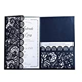Wedding Invitation Card Kit with Envelopes Seals Personalized Printing Laser Cutting 100Pcs,Blue