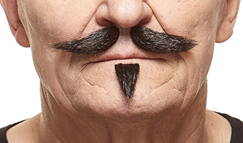 Patch Facial Hair (Gentleman black lustrous fake mustache and soul patch, self)