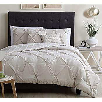 Greatest Amazon.com: 5pc Ivory Moroccan Pinch Pleated Comforter King Set  YX06