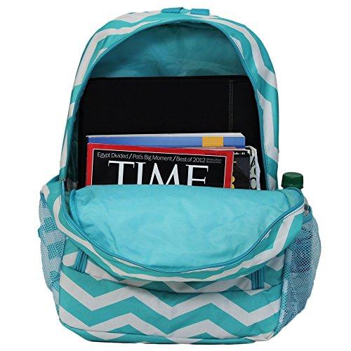 World Traveler Multipurpose Backpack 16-Inch, Blue White Chevron, One Size by World Traveler (Image #3)