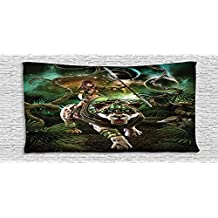 Cotton Microfiber Bathroom Towels Ultra Soft Hotel SPA Beach Pool Bath Towel Fantasy World Graphics of Fantasy Scene with Girl and Saber tooth Tiger Magical Plants Galaxy Home Green