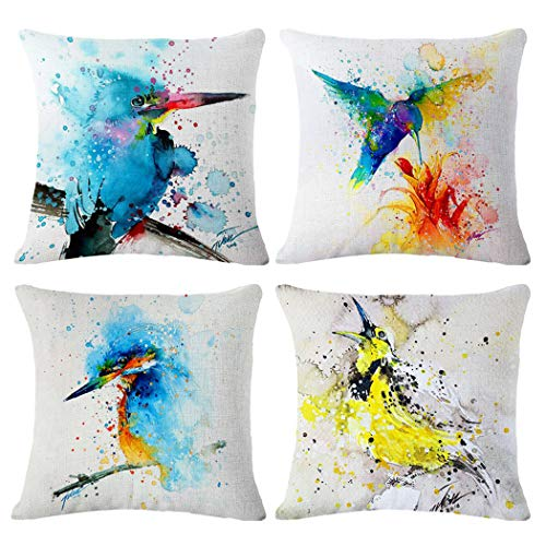 Watercolor Printing Cotton Linen Throw Pillow Case,Birds Print Pattern Cushion Cover Home Sofa Decorative18 X 18 Inch/45X45cm(Cover Only,No Insert)(4 Pack Watercolor Printing Birds)