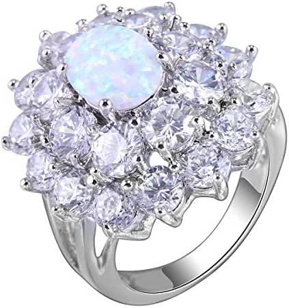 Lady Rings Created Opals Cubic Zirconia Rhodium Plated Big Flower stone Party Jewelry Size 6 7 8 9 White