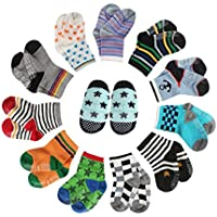 CIEHER 12 Pairs Baby Socks Grip Socks for Baby Baby Socks 6-24 Months Toddler Socks Boys, 12 Different Colors