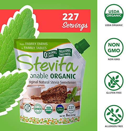 Stevita Organic Spoonable Stevia Pouch - 8 Ounces - All Natural Stevia Extract, Natural Sweetener - USDA Organic, Non GMO, Vegan, Kosher, Keto, Paleo, Gluten-Free - 227 Servings by STEVITA (Image #5)
