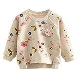 UWESPRING Baby Girl Pullover Sweater Cotton Flower Sweatshirt Blouse Tops 2T