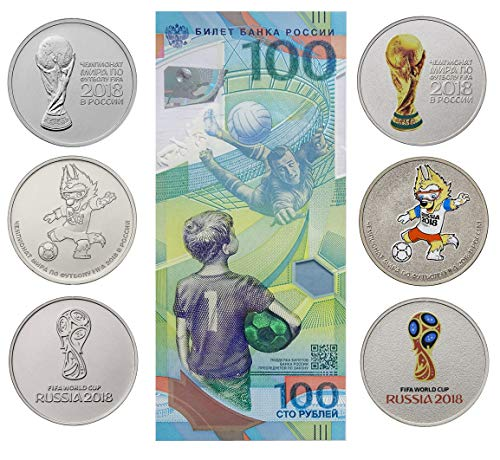 Set of 6 Coins 25 rubles and banknote of 100 rubles World Cup in Football Zabivak Cup Emblem