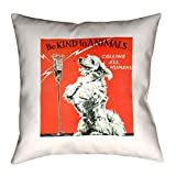 ArtVerse Katelyn Smith 28'' x 28'' Floor Double Sided Print with Concealed Zipper & Insert Vintage Animal Kindness Ad Pillow