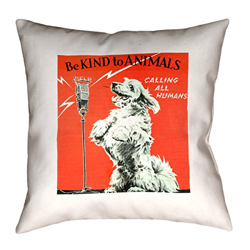 ArtVerse Katelyn Smith Vintage Animal Kindness Ad 28'' x 28'' Floor Pillows Double Sided Print with Concealed Zipper & Insert by ArtVerse