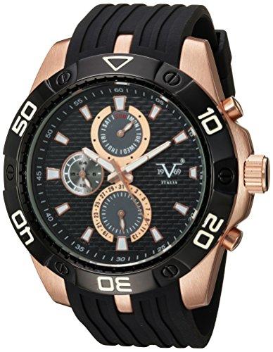V19.69 Italia Men's Quartz Metal and Silicone Casual Watch, Color:Black (Model: 37VM101001A)