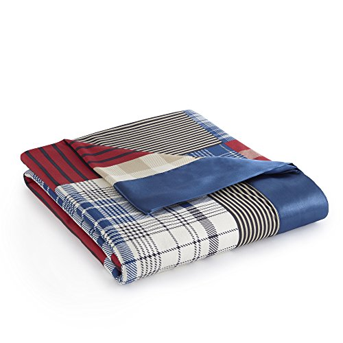 Thermee Micro Flannel Seasons Blanket, Twin, Country Plaid Red Blanket Plaid Flannel