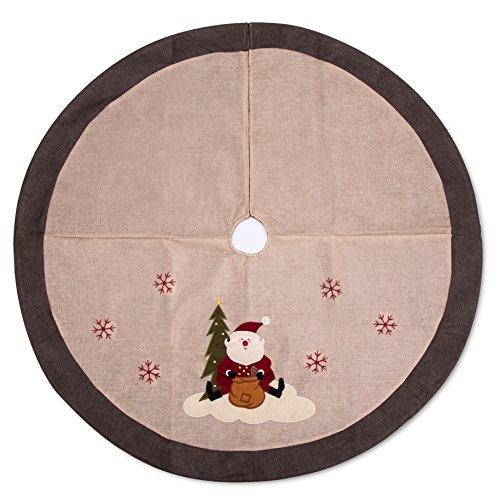 iPEGTOP 42 Burlap Rustic Christmas Tree Skirt - Classic Holiday Decorations Woodland Santa Snawflake Embroidery - Begie Brown Rim
