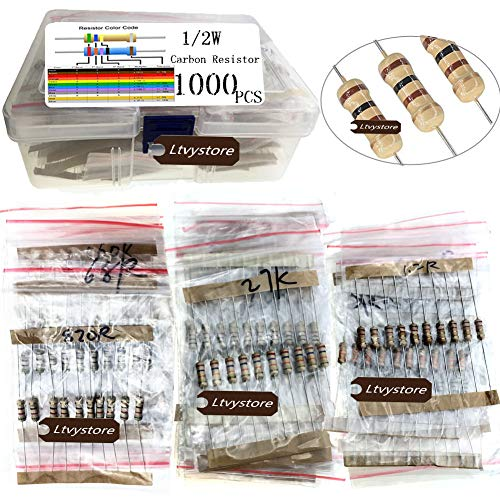 Ltvystore 1000PCS 100 Values 1 ohm -10M ohm 1/2W Metal Carbon Film Resistors Assortment Kit Assorted Set ()