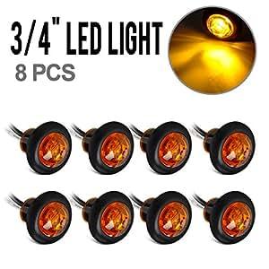 Amazon.com: Partsam 8x 3/4 Inch Mount Amber Clearance LED